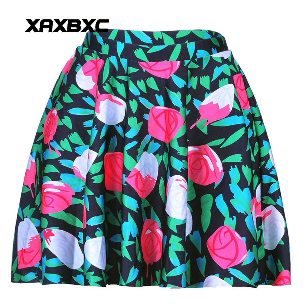 NEW 1020 Summer Sexy Girl Painting the Roses Red Printed Cheering Squad Tutu Skater Women Mini Pleated Skirt Plus Size