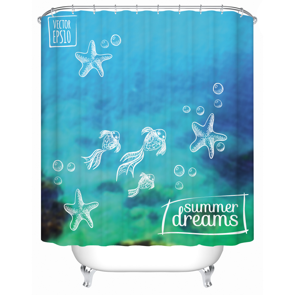 The Cute Ocean In Summer Vacation Relax 3d Print Blue Shower Curtain Fabric Water Resistant Material For Bathtub And Bathroom