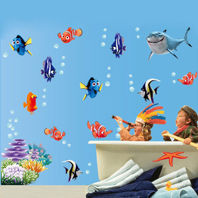 2017 Fish Seabed Wall Sticker Decal Cartoon Wall Stickers Decor Removable Vinyl Nursery Kids Room Decals 3D sea