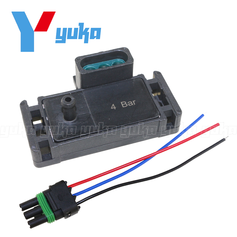 4 Bar 12223861 Turbo Intake Air Boost Pressure Map Sensor For Modified G-M Vehicles Cadillac Chevrolet Buick Chevy With Plug