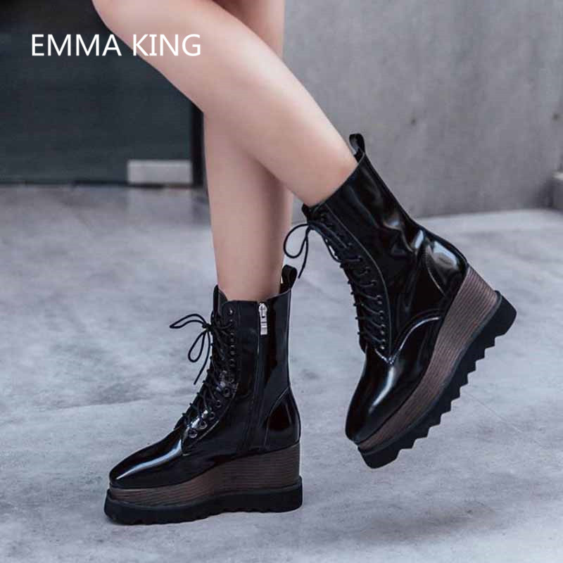 Chaussures Femme D'hiver Cuir Picture Picture Rihanna Lacent Casual Bottes Partie Plate as De Talons Verni Shown Cheville As Femmes Creeper Martin forme Luxe In Haute En qqxTOU