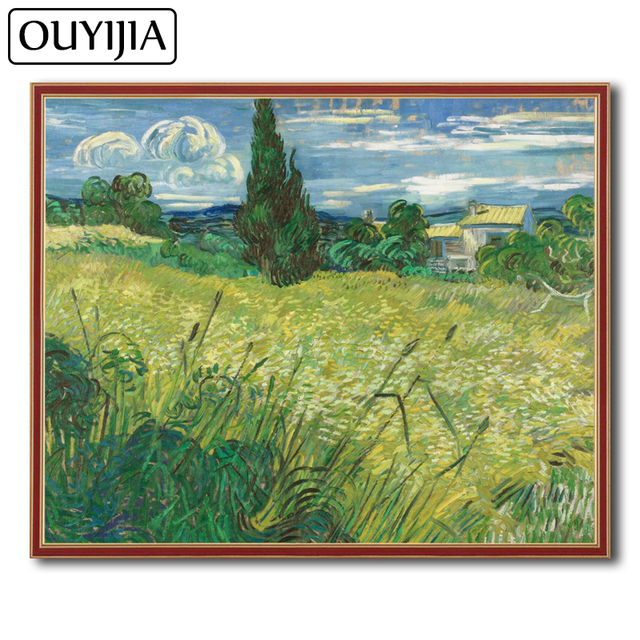 OUYIJIA Van Gogh Green Field Oil 5D DIY Diamond Painting Square Embroidery  Home Decoration Gift Mosaic Rhinestone Cross Stitch 86720e9693f3