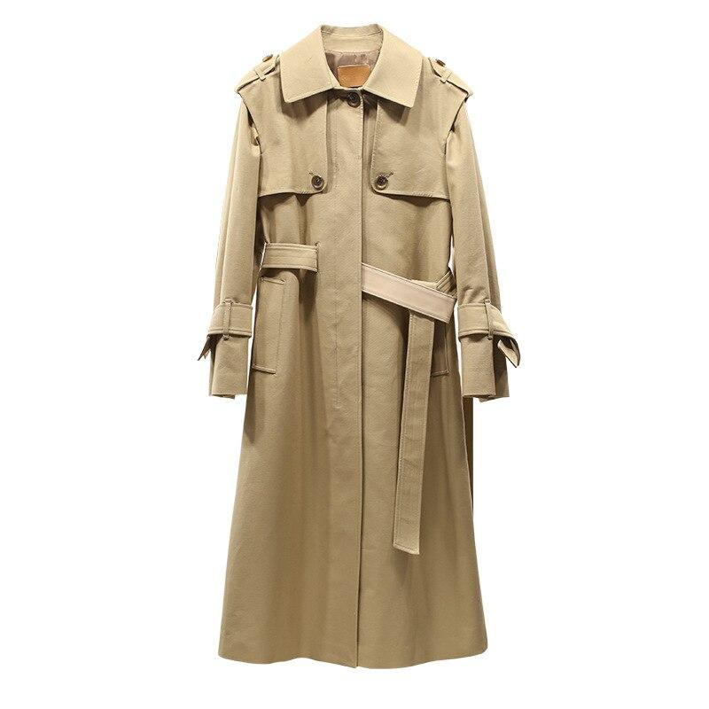Neue Europa Peterpan kleine Revers Clubman lange belted taille knie allgleiches dünne windjacke mädchen-in Basic Jacken aus Damenbekleidung bei  Gruppe 1