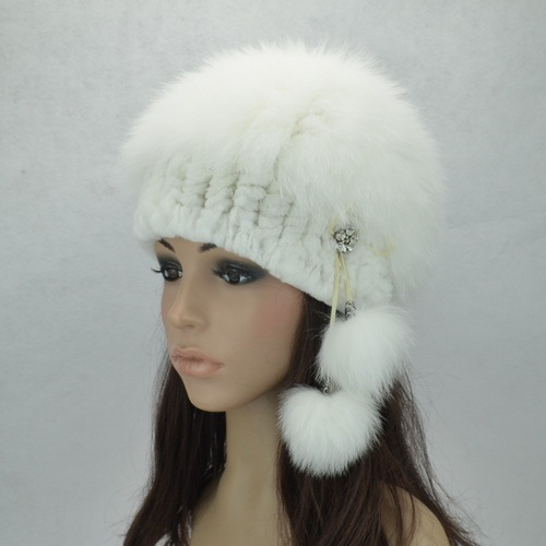 HA106-Autumn Winter  2016 women's  white black cap with fur ball,fashion warm knitted natural  rex rabbit/  fox fur hat