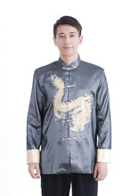 Free Shipping Gray Chinese Men s Silk Satin Embroidery Jacket Coat Dragon Size S M L
