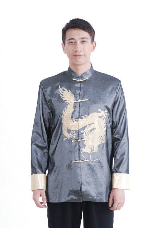 Free Shipping Gray Chinese font b Men s b font Silk Satin Embroidery font b Jacket