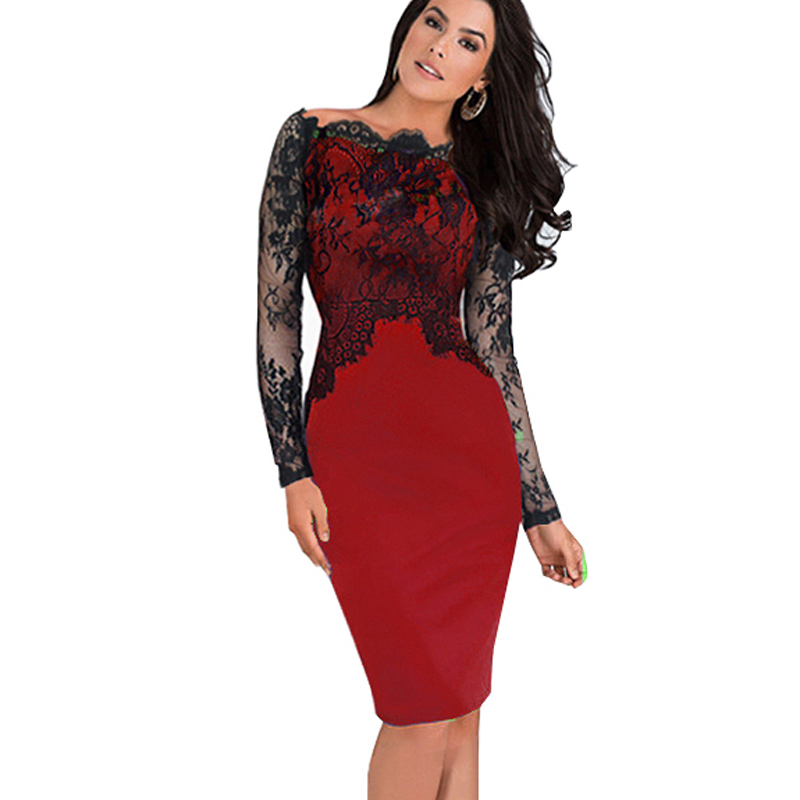 991835e869b9 Nice-Forever Off-Shoulder Gorgeous Vintage Dress Sexig Slash Neck ...