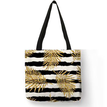 Exclusive Bronzing Pineapple Leaves Printed Eco Linen  Tote Bag For Women Lady  Geometry Traveling Beach Bags Fabric Handbags Сумка