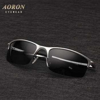 AORON Men's Al-Mg Aluminium Polarized Sunglasses Frame Mirror Driving Goggles Sun Glasses Eyewear Oculos de sol
