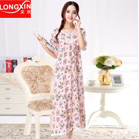 Plus size Cotton Sleepskirts Short sleeve ultra long Nightgowns female Summer royal princess sleepwear