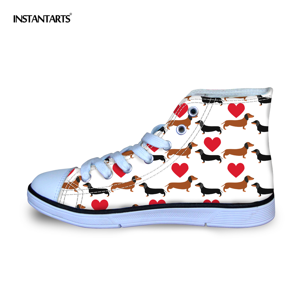INSTANTARTS Fashion Kid High Top Shoes Vulcanize Casual Canvas Shoe for Boy Girl 3D Dachshund Dog Print Children Lacing Sneakers instartants cool 3d galaxy animal dinosaur print chilren kindergarten kids high top canvas shoe outside lace up sneakers for boy