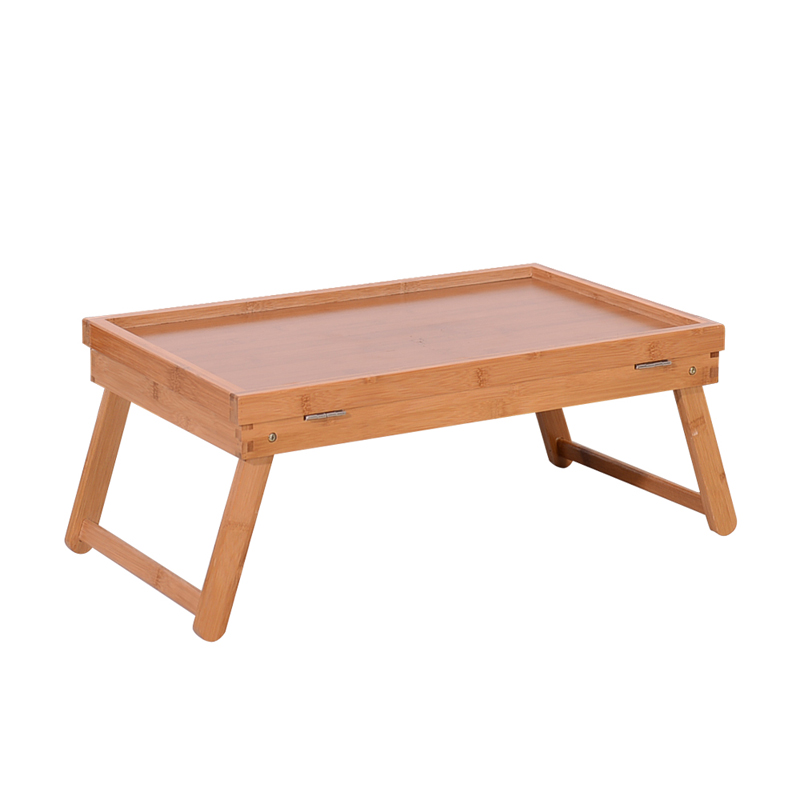Adjustable Bed Tray Lap Desk Table Folding Legs Bamboo Food Dinner US