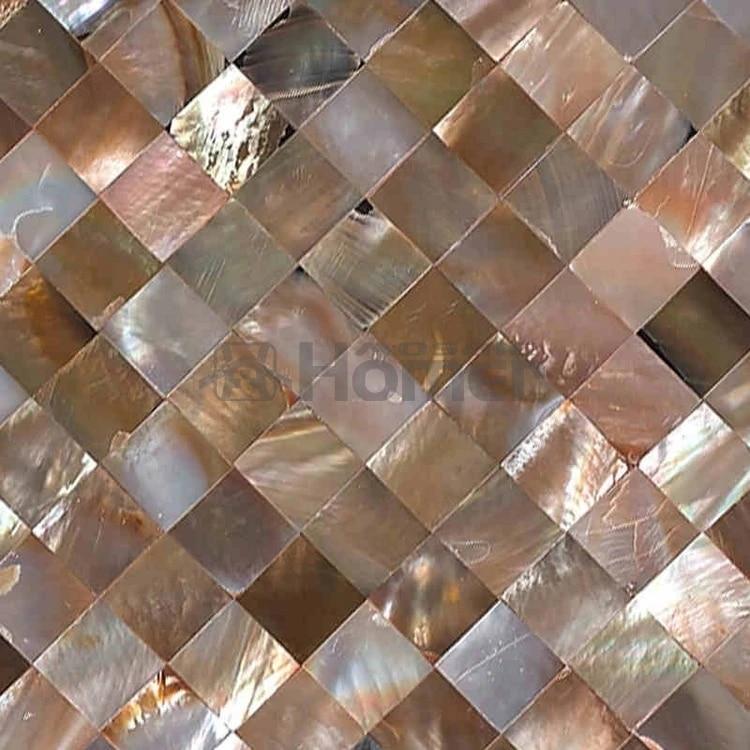 free shipping natural penguin shell seamless mosaic tiles mesh backing kitchen backsplash shining brown shell mosaic