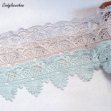 10.2cm Width Lace Trims Ribbon Water Soluble Sew on Flowers Appliques Clothes sofa cover Dress Motifs Home Textile Curtains