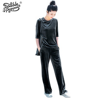Double Puppet Velvet Half Sleeve T Shirts Long Pants Women Casual Suits 2017 Summer New Solid
