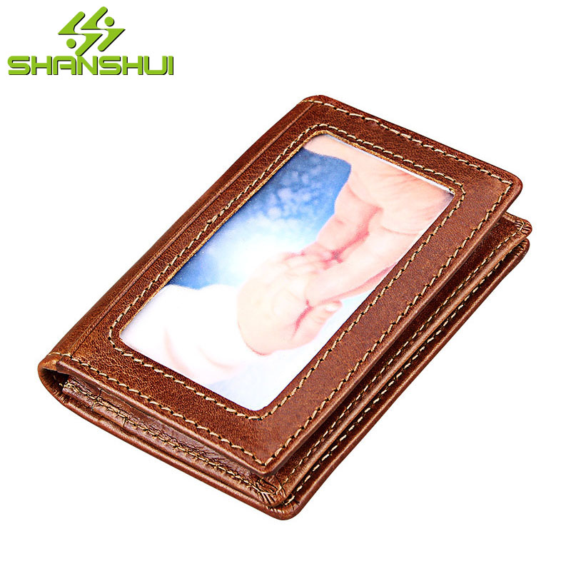 Women Genuine Leather Slim Wallet Cardholder Men Travel Business