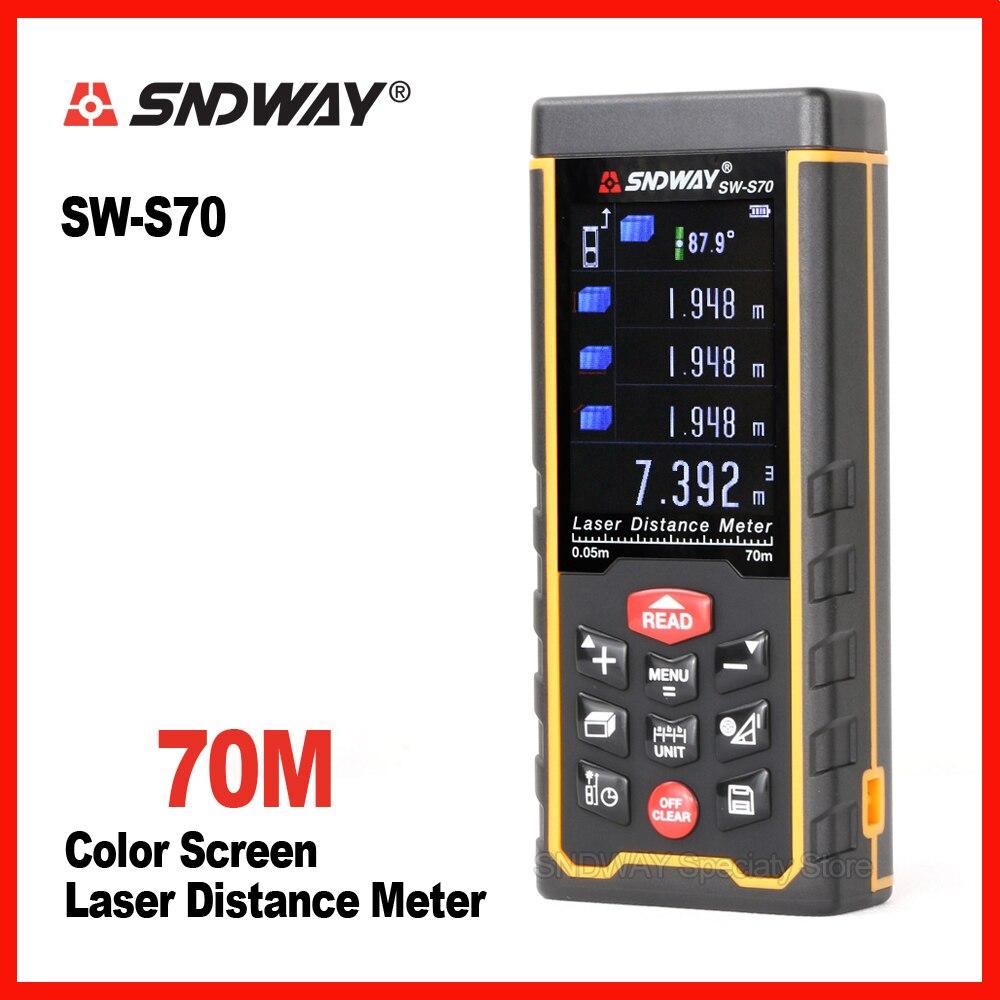 Original Sndway color screen SW-S70 70m laser range finder distance tape measure roulette meter trena rangefinder ruler tool