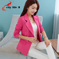 Slim Women Blazers Patchwork 2016 Spring And Autumn Outerwear Medium-Long Double-Breasted Long-Sleeve Veste Femme Blazer