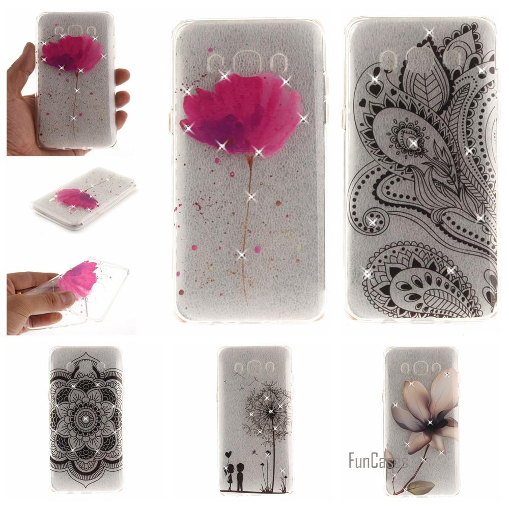 Flower Pattern Diamond Case For Samsung J2 Prime J3 J5 2016 Soft TPU IMD Case For Samsung Galaxy A5 2016 A3 2017 S7 Edge S8 Plus