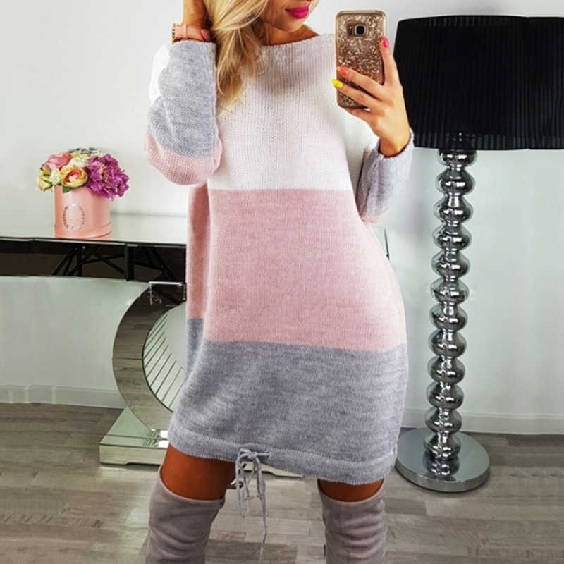 Autumn Winter Patchwork Knitted Cotton Sweater Dress Women Fashion Loose O-neck Pullover Female Knitted Dress Vestidos Feminino