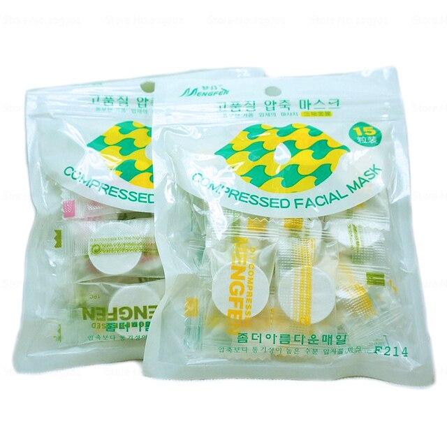 30 pz/lotto della caramella imballato non tessuto compresso maschera facciale fogli