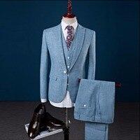 S 4XL Для мужчин белье повседневный комплект приталеные блейзеры свадебные костюмы для мужчин деловой, Свадебный, для жениха, костюмы, 3 предм