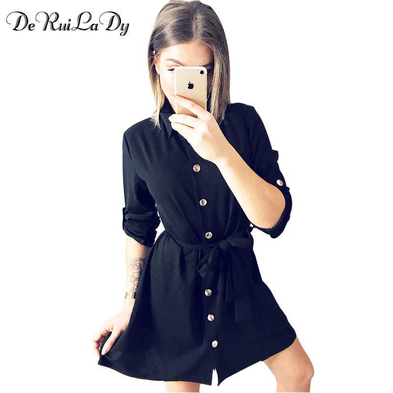 8219268994c DeRuiLaDy 2018 Fashion Spring Women Shirt Dress Three Quarter Sleeve Black  office Workwear Mini Dresses Female