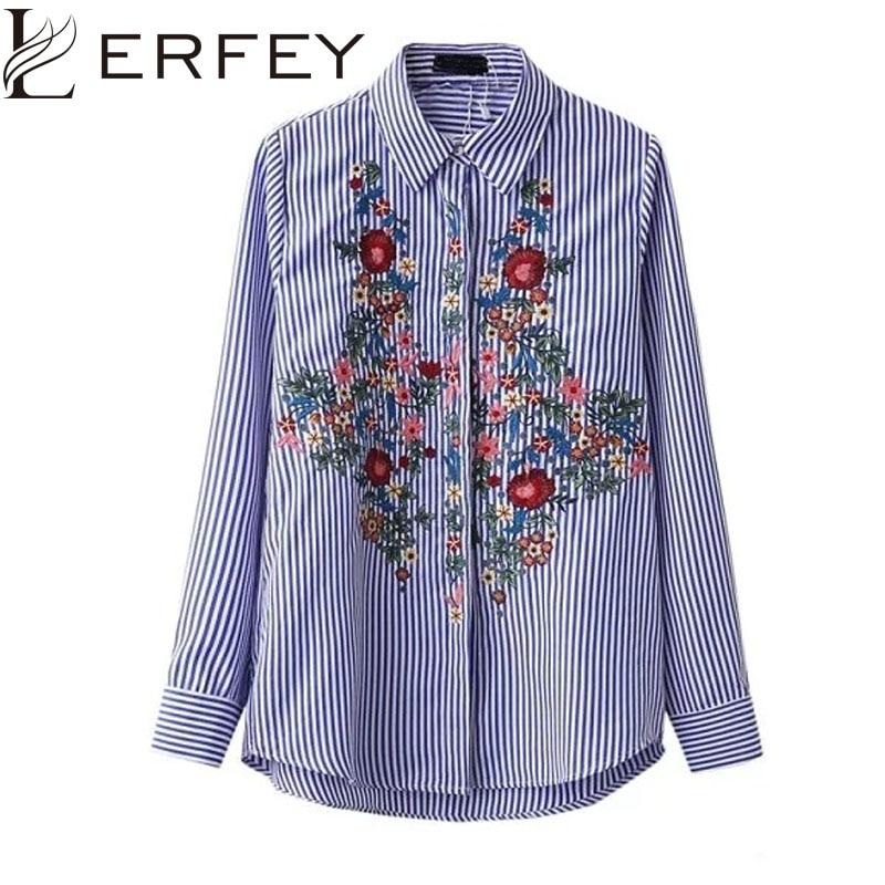 LERFEY Vyšívaná dámská halenka košile Neformální Modré pruhované košile Jarní a letní halenky Ženy Topy Nové oblečení