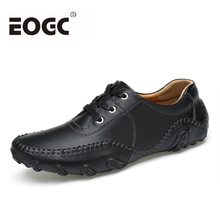 Size 38-46 British Style Men Casual Shoes For walking Fashion Four S Flats Black Genuine Leather men loafers shoes