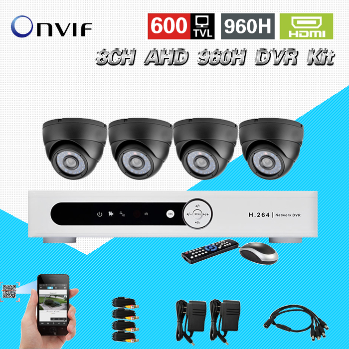 TEATE 8ch AHD 960H CCTV DVR System 4pcs 600TVL indoor IR Cameras 8 channel DVR Kit Security Camera surveillance System CK-194 greatech hd 8 channel ahd dvr kit 720p video surveillance security outdoor indoor cctv 8 cameras 1200tvl ahd system 8ch