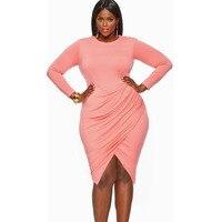 Plus Size XL XXL XXXL 2016 Women Sexy Pink Dress Long Sleeve Split Midi Dress Elegant Evening Party Dresses Clubwear vestido