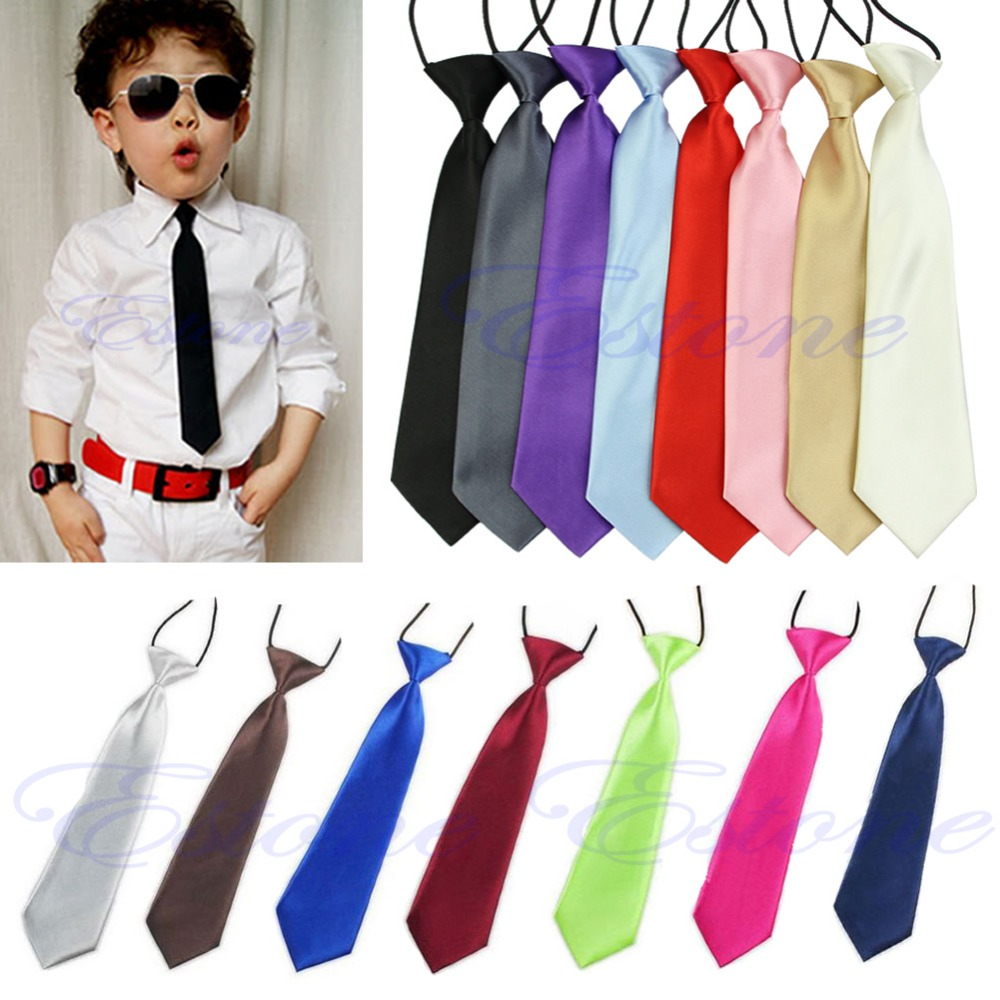 Free Shipping Fashion School Boys Children Kids Baby Wedding Solid Colour Elastic Tie Necktie