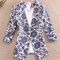 Dropship Женщины Синий и Белый Фарфор Отпечатано Блейзер Дамы Печатных Куртки xxxl женщин