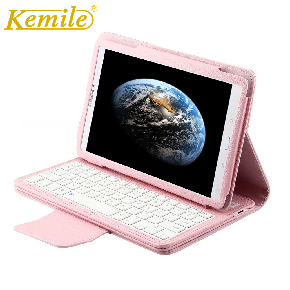 Kemile Removable Wireless Bluetooth Keyboard Portfolio Leather Stand Case Cover for Samsung Galaxy Tab E 9.6 T560 T561 T565 Case