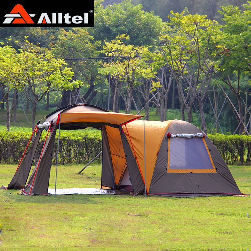 Alltel one hall one bedroom double layer strong pole waterproof windproof ultralarge family party outdoor camping tent