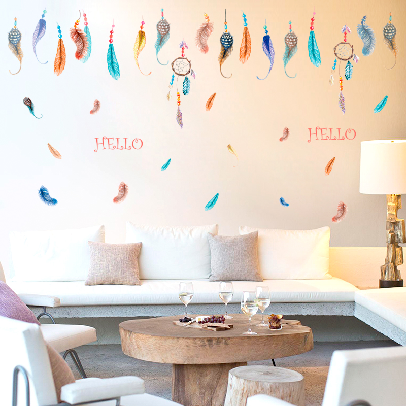 DIY Wall Sticker Feather Wall Decals Wedding Decoration Gifts Adesivo De Parede Poster Stickers