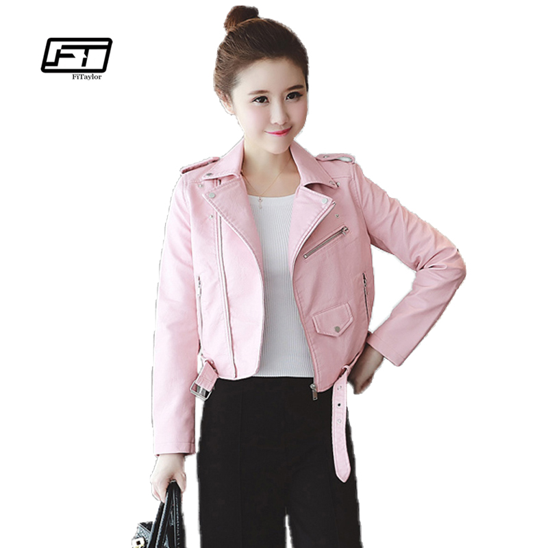Fitaylor Spring Autumn Women Leather Jackets Soft Pu Faux Leather Coats Slim Design Short Turn Down Collar Motorcycle Jacket