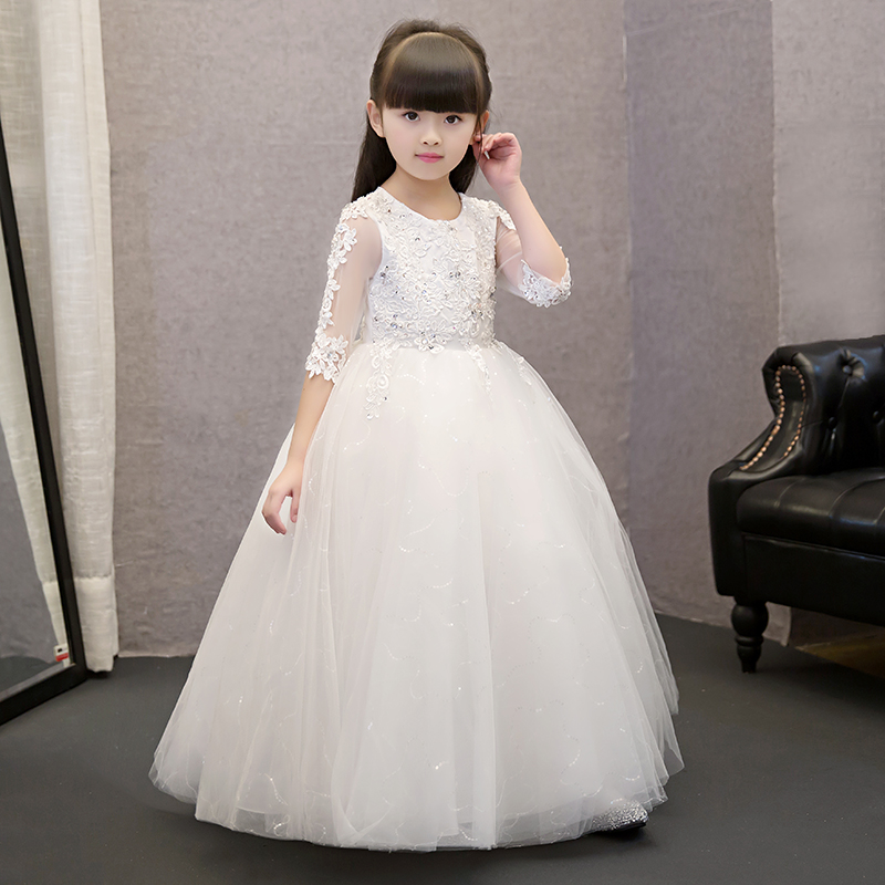 2017 New Fashion Baby Girls Dress Cute Embroidery Lace Appliques Ball Gown Dress Flower Girls Dress For Wedding Prom Party P01 lace detail flower embroidery velvet cami dress