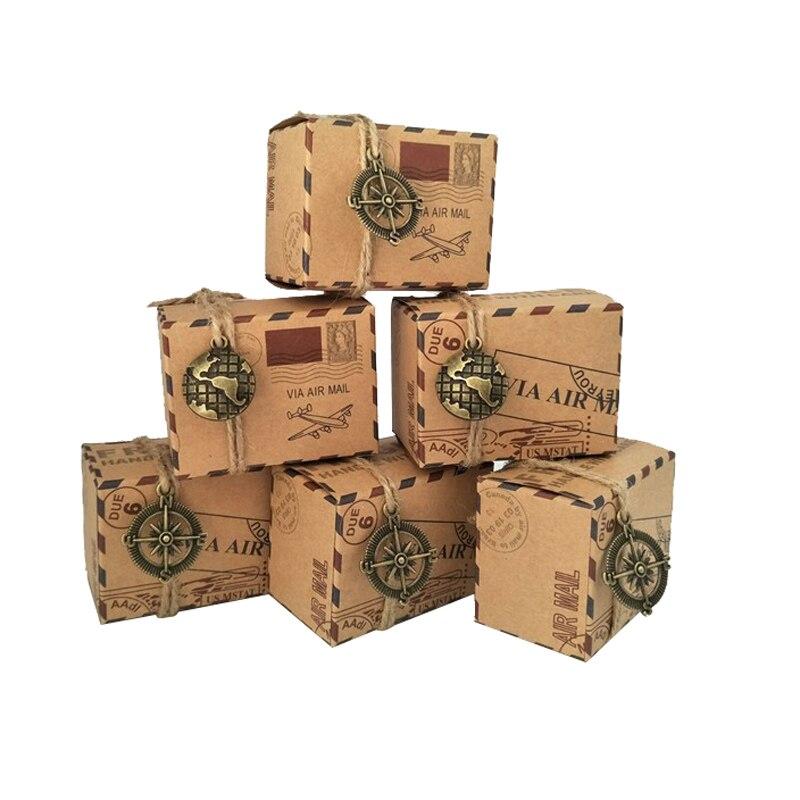 50 pcs Vintage Favors Kraft Paper Candy Box Travel Theme