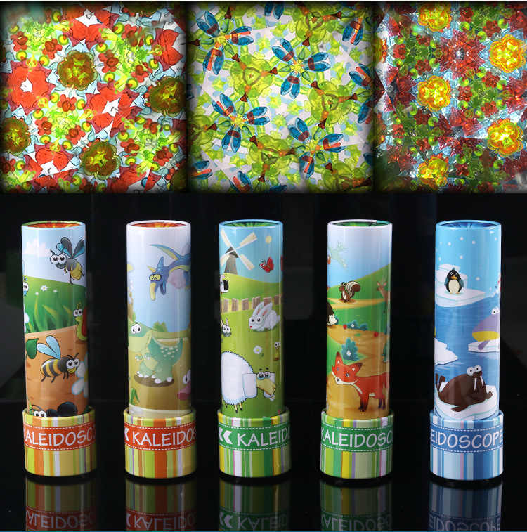 New Revolving Kaleidoscope 3D Variety Of Patterns Extended Rotation  Adjustable Fancy Colored World Puzzle Toys For Children Gift