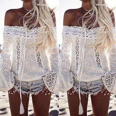 Évider Manches D'été Tops Casual Longues Vêtements Sexy Dentelle Mode blanc Femmes Blouse Encolure Noir À Chemise Des qxw4OI18