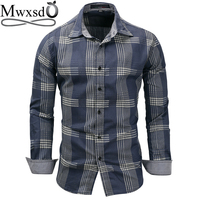 Mwxsd high quality Casual Mens Plaid Shirt Men long sleeve Striped Cotton Shirts Male big oxford shirt camisa masculina chemise