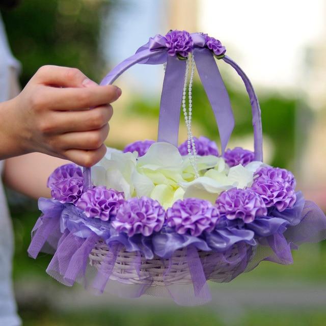 2 pcs wedding flower basket bridesmaid wedding hand basket 2 pcs wedding flower basket bridesmaid wedding hand basket decoration children hand baskets petals small basket junglespirit Gallery