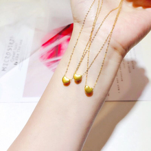 KOFSAC Romantic 925 Silver Necklace For Women Fashion Gold Brushed Love Heart Necklace Girl Jewelry Cute Gifts Party Accessories
