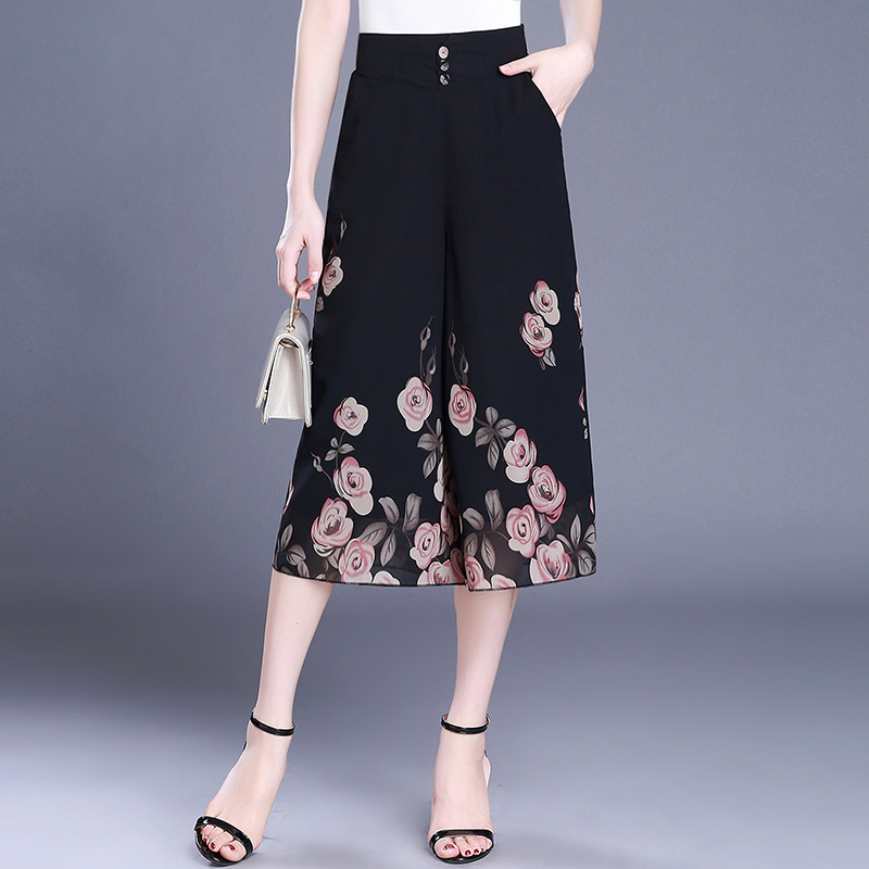 women Chiffon print  wide leg pants 2018 summer high waist loose skirt casual  Calf-Length Pants thin throusers for female