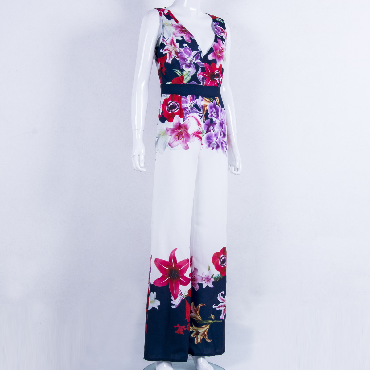 New Women Playsuit Sexy V-neck Floral Jumpsuit Sexy Lady Clubwear Flower Summer Playsuit Wide Leg Party Jumpsuit Romper #3