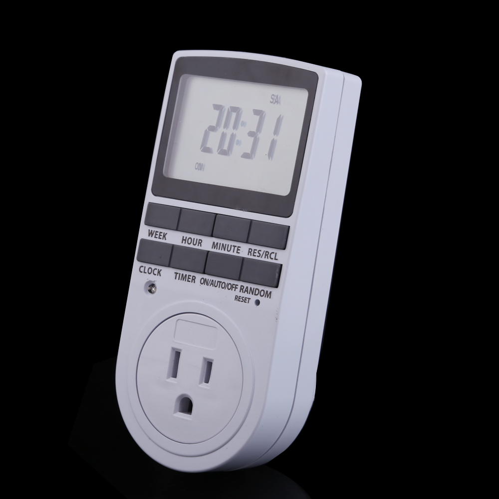 Electronic Digital Plug-in Digital Timer 24h 7day Week with LCD Display for Indoor Appliance Lights/TV/PC/Fans/Kitchen EU Plug