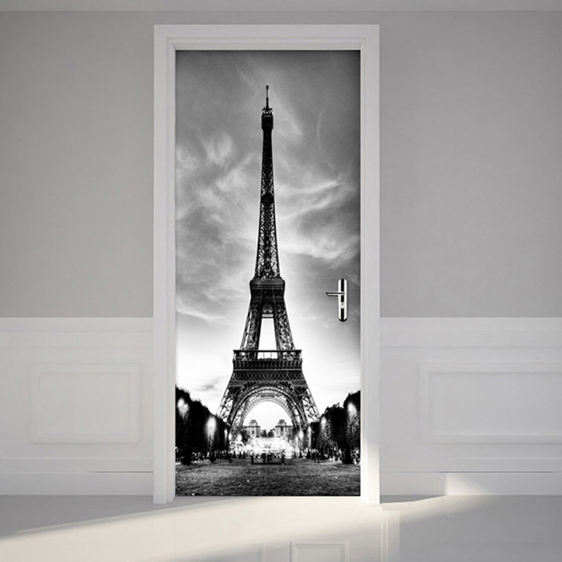 Modern Simple Black And White Iron Tower Mural Wallpaper 3D Living Room Restaurant Door Sticker PVC Self-Adhesive Wall Paper 3 D