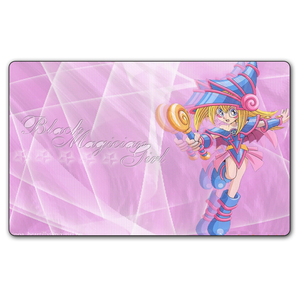 (YGO #43 Playmat) 14x24 Inches YU-GI-OH Black Magic Girl Play Mat Board Games YGO Card Games Table Pad with Free Gift Bag