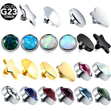 1PC G23 Titanium Piercing Micro Dermal CZ Gem Micro Dermal Anchor Crystal Top Dermal Piercings Surface Piercing 14G Body Jewelry(China)